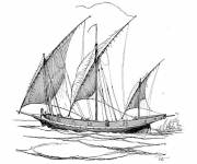 Coloring pages Old fishing sailboat