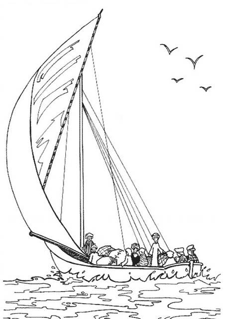 Free coloring and drawings Old transport sailboat Coloring page
