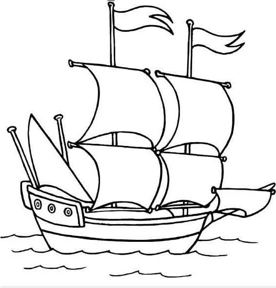 Free coloring and drawings Pirate Sailboat Coloring page