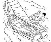 Free coloring and drawings Sailboat and Entertainment Coloring page