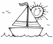 Coloring pages Sailboat and smiling sun