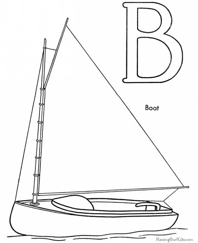 Free coloring and drawings Sailboat and The Alphabet Coloring page
