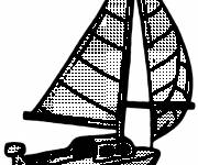 Coloring pages Sailboat and the discovery of the sea