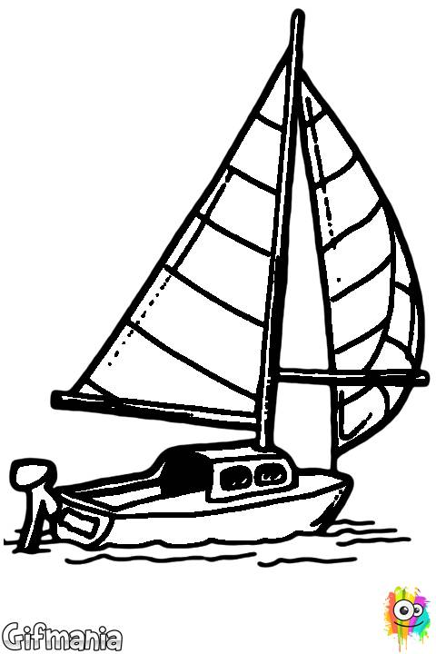 Free coloring and drawings Sailboat and the discovery of the sea Coloring page