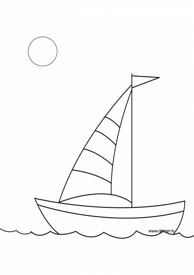 Free coloring and drawings Sailboat for the little ones Coloring page