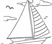 Coloring pages Sailboat in nature