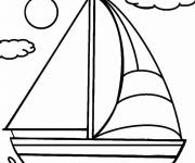 Coloring pages Sailboat landscape on the sea