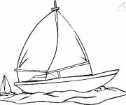 Coloring pages Sailboat on the sea