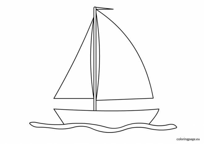Free coloring and drawings Sailboat on the sea surface Coloring page