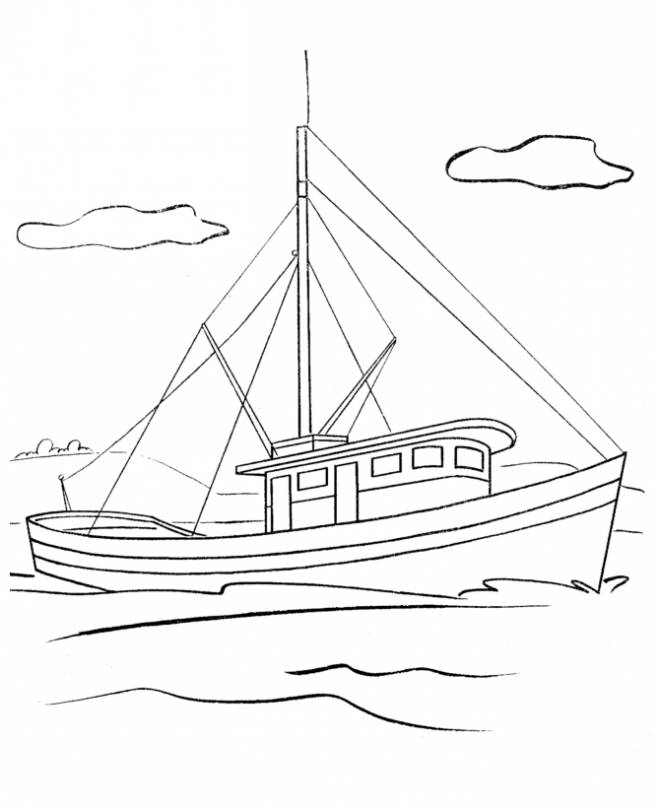 Free coloring and drawings Sailboat online Coloring page