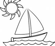 Coloring pages Sailboat under the rays of the sun