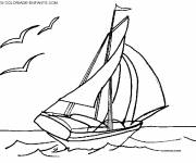 Free coloring and drawings Sailing boat on computer Coloring page