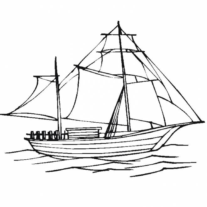 Free coloring and drawings Sailing boat online Coloring page