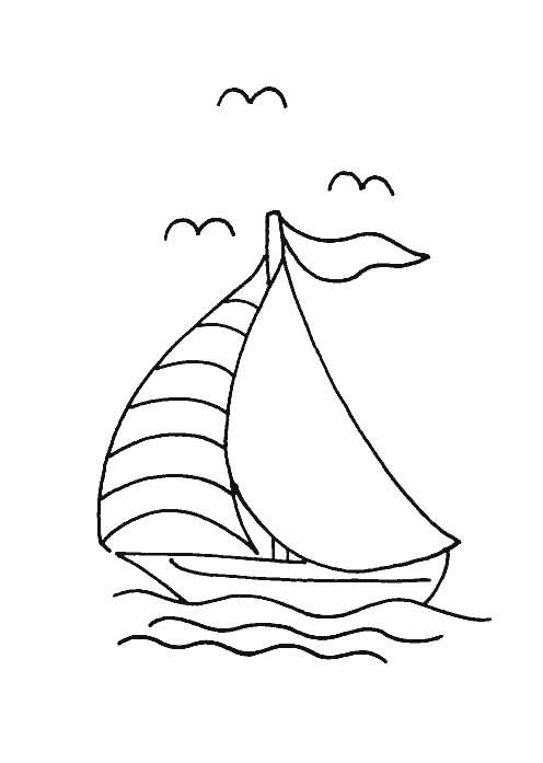 Free coloring and drawings Small sailing boat in the sea Coloring page