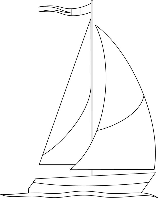 Free coloring and drawings Stylized sailboat Coloring page