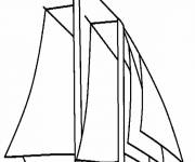 Coloring pages Stylized sailboat in black and white