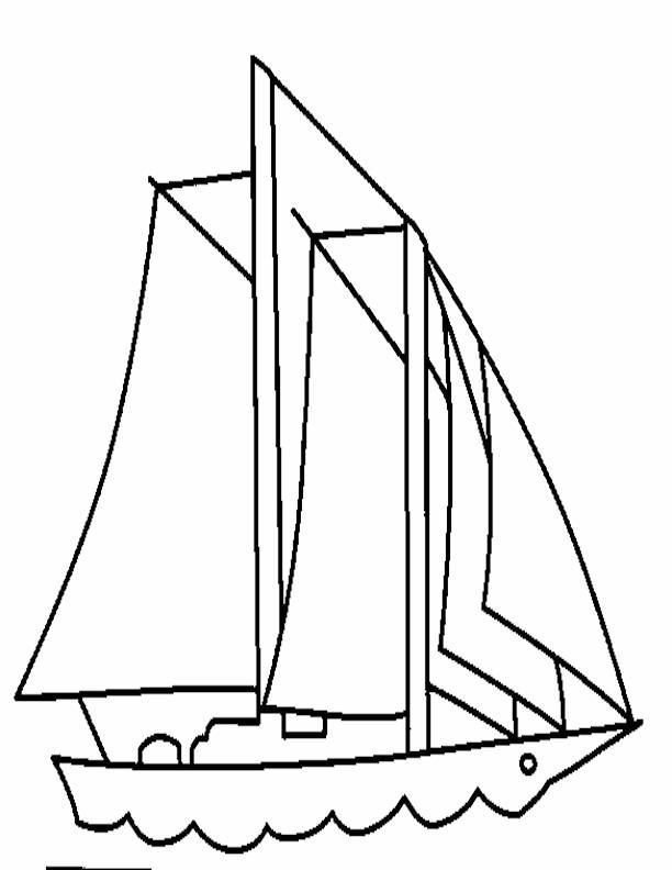 Free coloring and drawings Stylized sailboat in black and white Coloring page