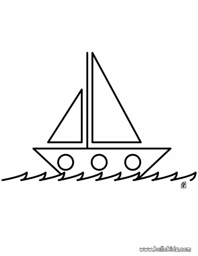 Free coloring and drawings Stylized sailing boat Coloring page