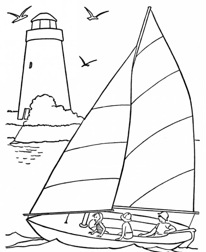 Free coloring and drawings The family on their boat Coloring page