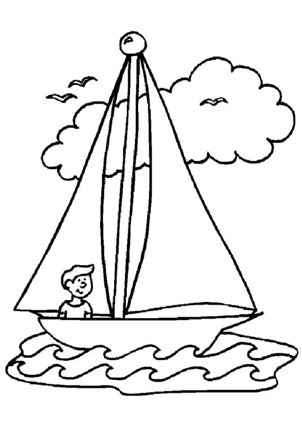 Free coloring and drawings The little sailor sails his ship Coloring page