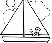 Free coloring and drawings The sailor in his sailing boat Coloring page