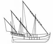 Coloring pages Three-masted boat