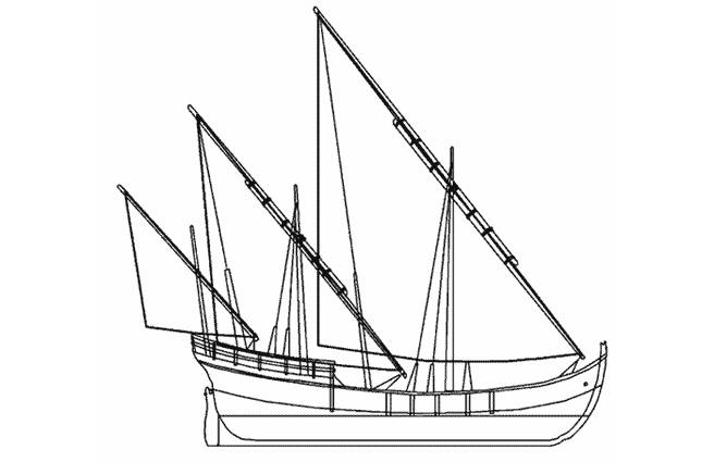 Free coloring and drawings Three-masted boat Coloring page