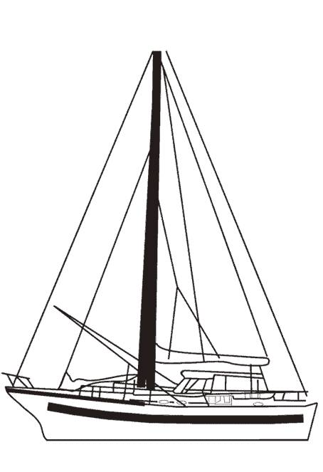 Free coloring and drawings Tourist sailboat Coloring page