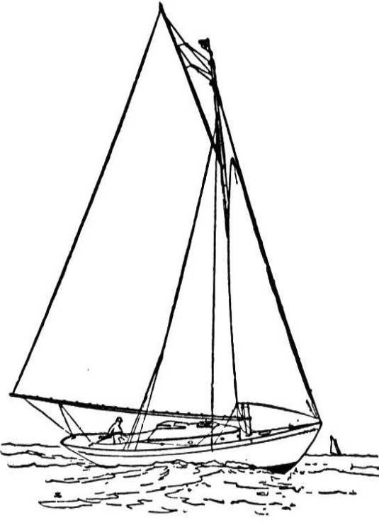 Free coloring and drawings Very fast sailing boat Coloring page