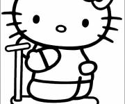 Coloring pages Hello Kitty and her Scooter