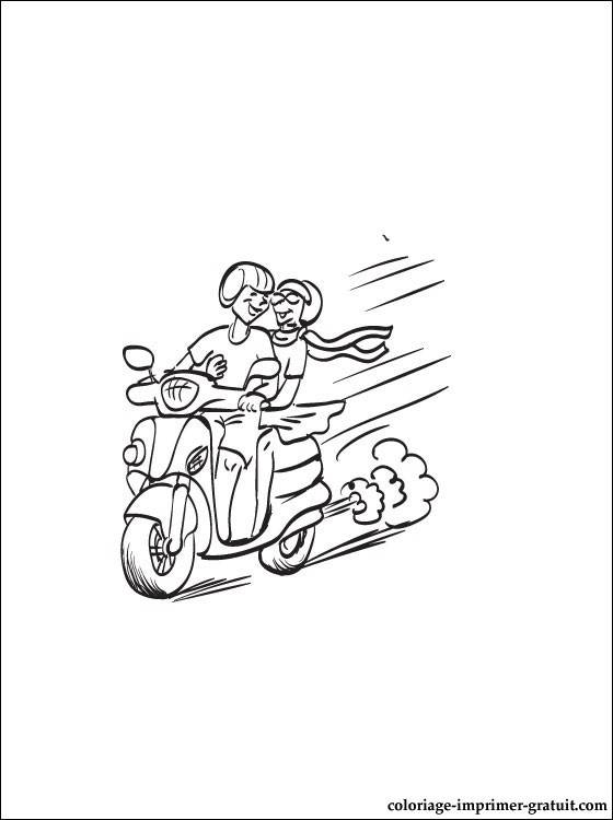 Free coloring and drawings A couple rides in a Scooter Coloring page