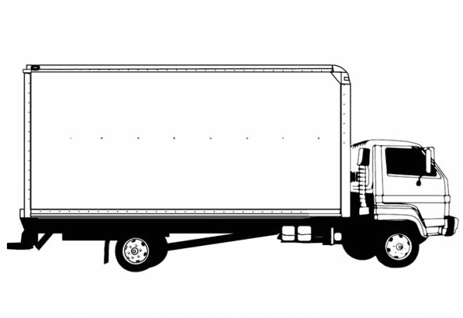 Free coloring and drawings Easy Semi Trailer Truck Coloring page