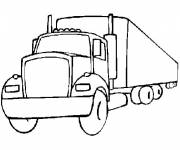 Coloring pages long trailer truck