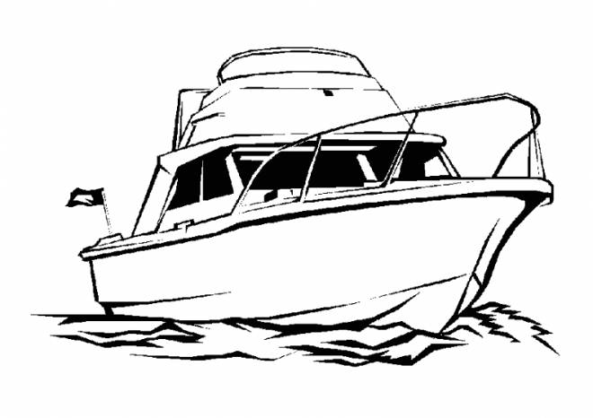 Free coloring and drawings A colored yacht Coloring page