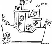 Free coloring and drawings A small ocean liner in the water Coloring page