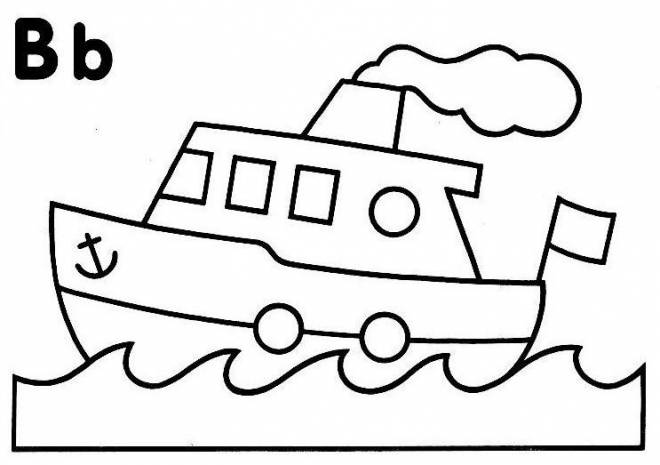 Free coloring and drawings A stylized Little Boat Coloring page