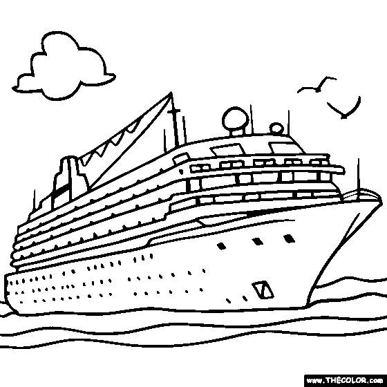 Free coloring and drawings Cruise liner Coloring page