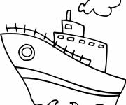 Free coloring and drawings Easy Child Ship Coloring page