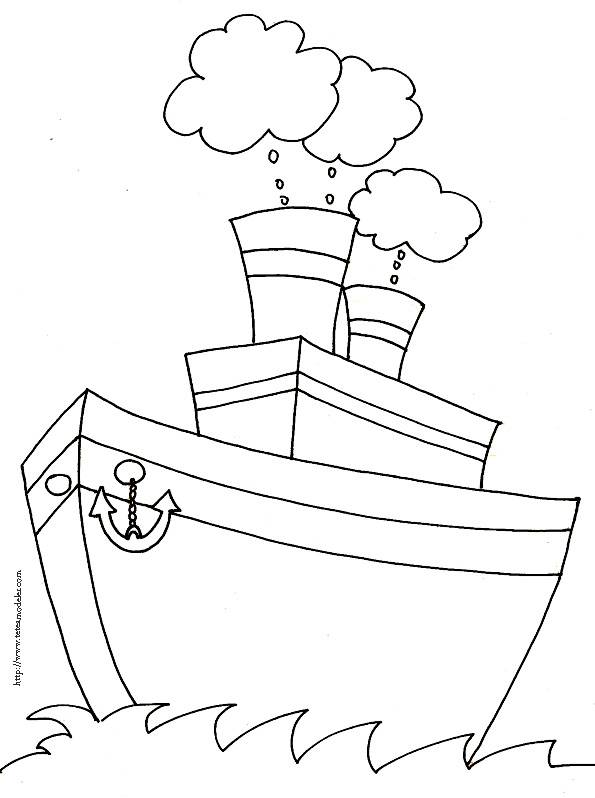 Free coloring and drawings Fishing boat for children Coloring page