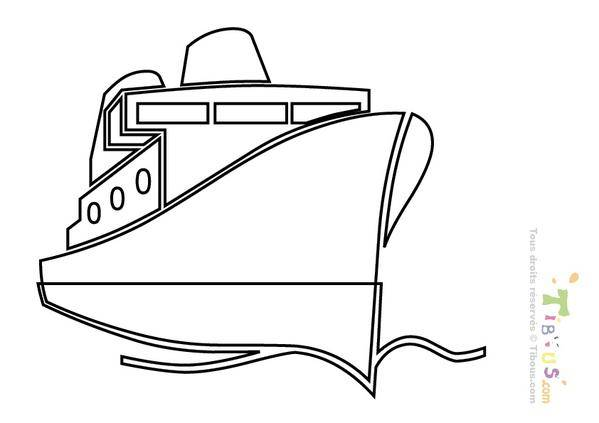 Free coloring and drawings Stylized ocean liner Coloring page