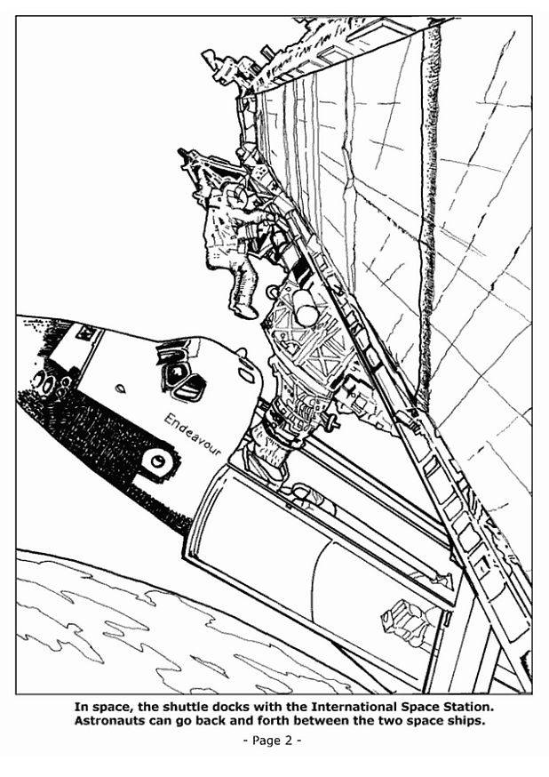 Free coloring and drawings Astronauts outside the spaceship Coloring page