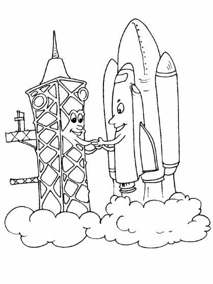 Free coloring and drawings Custom Space Rocket Coloring page