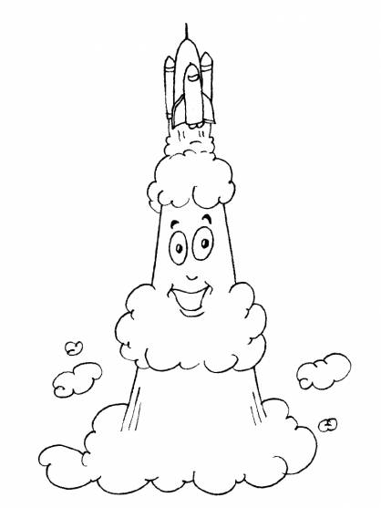 Free coloring and drawings Funny Space Shuttle Coloring page
