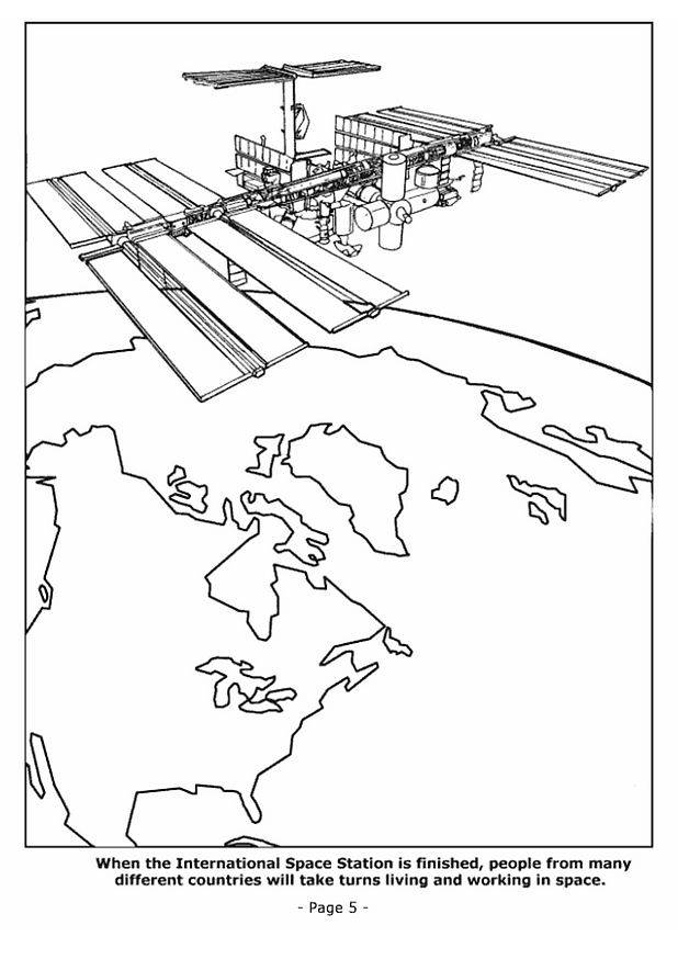 Free coloring and drawings Satellite around Earth Coloring page