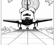 Free coloring and drawings Shuttle arrives on earth Coloring page