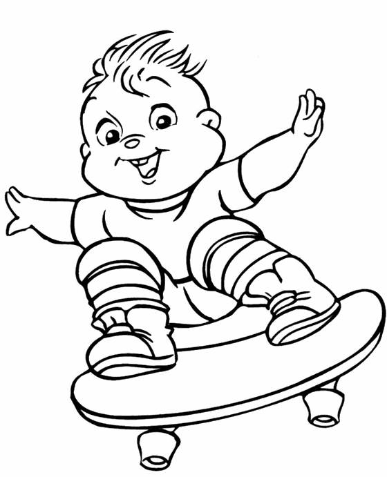 Free coloring and drawings A baby skateboarder Coloring page