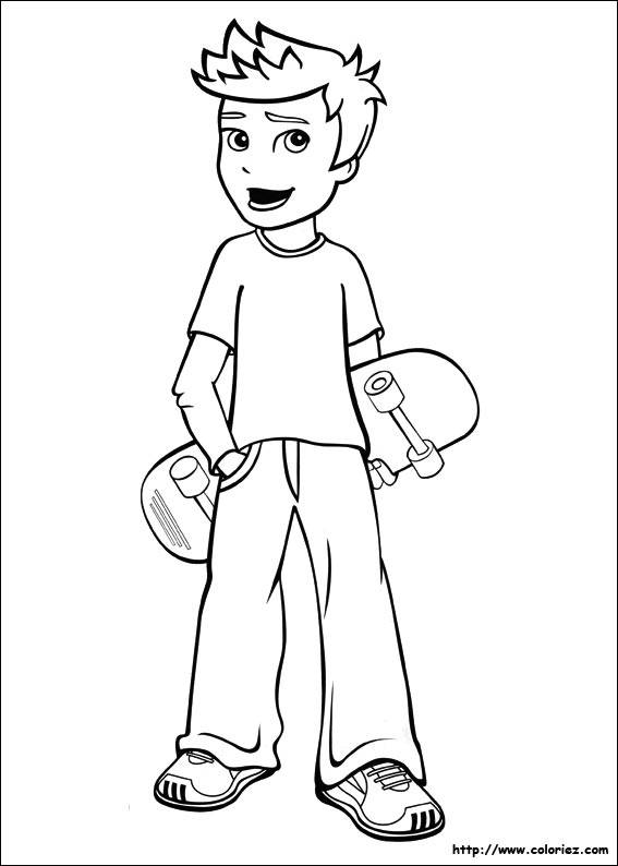 Free coloring and drawings A boy carrying his skateboard Coloring page