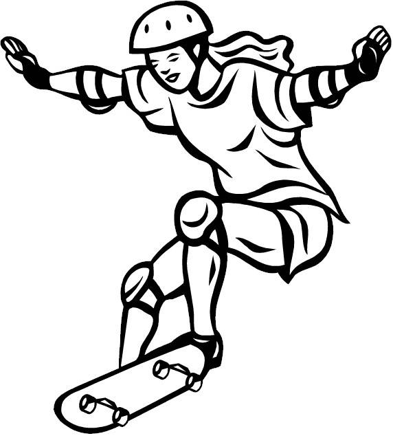 Free coloring and drawings A girl plays Skate Coloring page