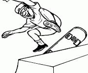 Coloring pages Boy playing skateboard
