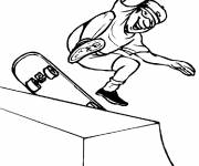 Free coloring and drawings Fun of a Skateboarder Coloring page